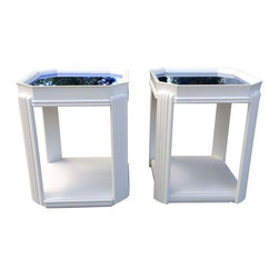 Art Deco Blue Glass Top White End Tables - A Pair - American Art Deco blue glass top end tables with inset tops circa 1930s. These blue eyed babies sport angled corners supported by Art Deco style reeded legs and a solid base. The white paint is not original. Wear is consistent with age and use.