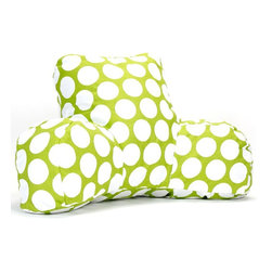 Hot Green Large Polka Dot Reading Pillow - Now you can kick back and relax anywhere with this comfortable and supportive Reading Pillow. The Majestic Home Goods Reading Pillow provides back and head support that is perfect for many activities such as reading, watching TV or playing video games. Stuffed with a super loft recycled polyester fiber fill, the reading pillows zippered slipcover is woven from poly/cotton twill. Spot clean slipcover with mild detergent and hang dry. Do not wash insert.