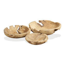 Kathy Kuo Home - Java Natural Teak Wood Decorative Bowls- Set of 3 - It just doesn't get much more earthy than this trio of teak carved bowls. Every knot, every twist in the grain of the wood is revealed in this trio.  Perfectly modern yet absolutely unpretentious, this trio is a great addition for sophisticated city apartments and rustic lodges alike.