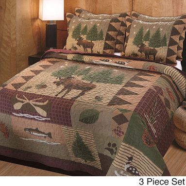 None - Moose Lodge 3-piece Quilt Set - Add a bit of the great outdoors to any bedroom with this rustic quilt set. It  features a pattern of moose,fish,and trees that will go great in the bedroom of a sportsman or in your cabin on the lake. It comes complete with a quilt and two shams.