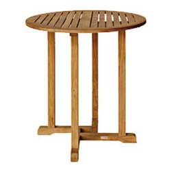 """Bambeco Chelsea 36"""" Round Bar Table - Add casual and cool eco flare to your patio with this sustainable teak bar set. The wood used in this collection is sourced from sustainably harvested and carefully managed teak forests. This design features a beautiful contoured seat backrest and lumbar support for maximum comfort.  Chairs sold separately.  Available Table Sizes: 36"""" dia. x 40""""H, 42"""" dia. x 40""""H.  Furniture typically ships within 48 hours and cushions ship within three weeks due the custom made nature."""