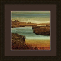"""Mantle Art Company - """"On the Water II"""" custom framed art - Beautiful modern art custom framed by designers to bring out the best in this piece of art. Made in the USA"""