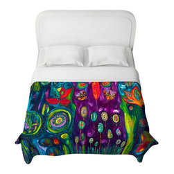 DiaNoche Designs - The Believers Garden Duvet Cover - Lightweight and super soft brushed twill duvet cover sizes twin, queen, king. Cotton poly blend. Ties in each corner to secure insert. Blanket insert or comforter slides comfortably into duvet cover with zipper closure to hold blanket inside. Blanket not included. Dye Sublimation printing adheres the ink to the material for long life and durability. Printed top, khaki colored bottom. Machine washable. Product may vary slightly from image.