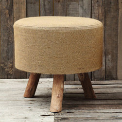 Classic Jute Stool - Add some easy rustic charm to you patio or room with this versatile stool. Made of durable jute and sturdy wood legs, the stool makes a perfect perch, both outdoors or in. The natural beige color gives it an understated charm, but the classic shape keeps it memorable.
