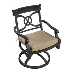 Lakeview Outdoor Designs - St. Charles Cast Aluminum Swivel Rocker Patio Dining Chair - The St. Charles collection accentuates outdoor living areas with its contemporary character and refined style. This hand crafted cast aluminum swivel rocker is generously proportioned for extra comfort. This swivel rocker chair includes a 3-inch thick canvas heather beige cushion made with Sunbrella fabric that resists fading and mildew. While you relax, this chair allows you to swivel 360 degrees and rock back and forth. The powder coated, antique black finish is rust resistant and cleans up easily with mild soap and water. The cast aluminum frame is all welded for additional strength and capped on the bottom with non-marking, adjustable leveling feet for support.