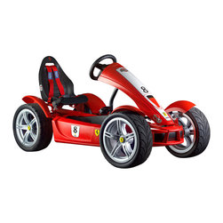 BERG - Ferrari FXX Exclusive Pedal Kart - Do you want the ultimate in satisfaction?  How about racing around the neighborhood in your own Ferrari?  This is the top of the line pedal kart with its seven gears, 12-inch light- metal look wheel rims and its ultra-flat, super-slick x-treme tires.  You can accelerate to the pole position in any race.