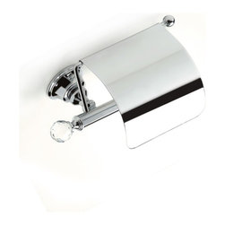 StilHaus - Brass Covered Toilet Roll Holder with Crystal, Chrome - Covered toilet roll holder with crystal glass.