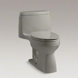 "Kohler - Santa Rosa One Piece Comfort Height Compact Elongated 1.28 GPF Toilet - Compact in size, the stylish Santa Rosa toilet delivers 3.5-gallon flushing performance in a 1.28-gallon package. This one-piece elongated toilet is available in a palette of KOHLER colors to complement any dcor. Features: -High-efficiency system offers bulk flushing performance and best-in-class cleanliness. -Significant water savings of as much as 16,500 gallons of water annually over a 3.5 gallon toilet. -Meets strict flushing performance guidelines established by the EPA's water sense program. -Qualifies as an het (high-efficiency toilet). consumer rebates are available in some municipalities. -This product can help a building earn water efficiency points in the LEED green building rating system. -27-3/4""L x 18-3/4""W x 28-3/16""H. -Large 3-1/4"" canister flush valve features a powerful jet action, providing rapid water delivery from tank to bowl. -12"" Rough-in. supply line not included. -ADA compliant. -Water Sense certified. -Overall dimensions: 28.1875"" H x 27.75"" W x 18.75"" D."