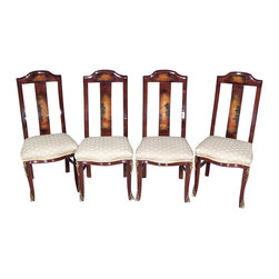 MBW Furniture - Set 4 Mahogany High Back Painted Taupe  Side Chairs - Mahogany Veneers w/ Wood Carcass