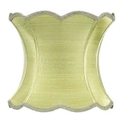 Jubilee Collection - Extra Large Shade - Scallop Hourglass - Green - Material: silk, metal. 13 x 13 x 12 in.