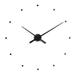 "Design Within Reach - OJ Wall Clock - Industrial designer José M. Reina defines his clocks as items of furniture that mark time and are capable of measuring the rhythm of their existence. A traditional element in the home, Reina felt the clock had been neglected – chairs and tables evolved but the clock remained relatively unchanged and somewhat forgotten. Through careful selection and innovative application of materials, Reina's inspirational timepieces are redefining the limits of the clock and restoring it back to its proper place as a centerpiece and a way to mark the passing of time with style. The OJ (2001) is a new concept in wall clock; it is completely silent and has a cutting-edge look that's versatile and minimalist. The self-adhesive hour markers make the OJ easy to install and customizable to your wall space; simply position the markers closer together or further apart. Powered by one AA battery (not included). Assembly required. Made in Spain. This DIY clock has self-adhesive hour markers that you can position as you wish. Available in two sizes: Regular (31.5"" min. diameter) and Mini (19.5"" min. diameter). The difference being the size of the hands and how much space they need to rotate. Clock arrives in two boxes; one contains the arms and the other contains the hour dots and mechanism. Layout template and instructions included.DWR Exclusive"