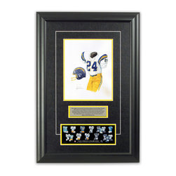 """Heritage Sports Art - Original art of the NFL 1981 San Diego Chargers uniform - This beautifully framed piece features an original piece of watercolor artwork glass-framed in an attractive two inch wide black resin frame with a double mat. The outer dimensions of the framed piece are approximately 17"""" wide x 24.5"""" high, although the exact size will vary according to the size of the original piece of art. At the core of the framed piece is the actual piece of original artwork as painted by the artist on textured 100% rag, water-marked watercolor paper. In many cases the original artwork has handwritten notes in pencil from the artist. Simply put, this is beautiful, one-of-a-kind artwork. The outer mat is a rich textured black acid-free mat with a decorative inset white v-groove, while the inner mat is a complimentary colored acid-free mat reflecting one of the team's primary colors. The image of this framed piece shows the mat color that we use (Yellow). Beneath the artwork is a silver plate with black text describing the original artwork. The text for this piece will read: This original, one-of-a-kind watercolor painting of the 1981 San Diego Chargers uniform is the original artwork that was used in the creation of this San Diego Chargers uniform evolution print and tens of thousands of other San Diego Chargers products that have been sold across North America. This original piece of art was painted by artist Nola McConnan for Maple Leaf Productions Ltd. Beneath the silver plate is a 3"""" x 9"""" reproduction of a well known, best-selling print that celebrates the history of the team. The print beautifully illustrates the chronological evolution of the team's uniform and shows you how the original art was used in the creation of this print. If you look closely, you will see that the print features the actual artwork being offered for sale. The piece is framed with an extremely high quality framing glass. We have used this glass style for many years with excellent results"""