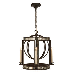 Kate Lantern, Aged Iron with Antique Mirror - Thoughtful lighting is the best way to transform a room. Hang this beautiful lantern in your dining room, hallway or kitchenette for a vintage look. The combination of iron, antiqued mirror pieces and candelabra sockets will shower your room in a romantic light.