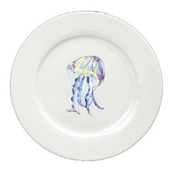 Caroline's Treasures - Jellyfish Round Ceramic White Dinner Plate 8682-DPW-11 - Jellyfish Round Ceramic White Dinner Plate 8682-DPW-11 Heavy Square Ceramic Plate 11 inches. LEAD FREE, dishwasher and microwave safe. The plate has been refired over 1600 degrees and the artwork will not fade or crack.