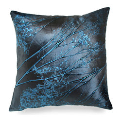 Baby's Breath on Eve Pillow - A soft scattering of Baby's Breath falls across the deep blue silk of the Baby's Breath on Eve Pillow. Bring a touch of texture into your bedroom or living room by placing one or a grouping of these gorgeous, luxurious accent pillows in your space and feel a sense of relaxation and comfort fill your room. Each Aviva Stanoff piece is specially crafted for you upon ordering and takes 8-10 weeks but is absolutely worth the wait.
