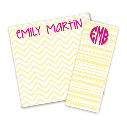 Ann Page - Yellow & Pink Personalized Notepad Set - Add a one-of-a-kind touch to the errand list with these personalized notepads. Featuring enchanting designs on quality cardstock, there's no better way to gussy up the to-do list! �� Includes narrow and wide pads Personalize narrow pad with three-character monogram Enter monogram as follows: first initial, last initial, middle initial. For example, Katie Beth Smith should be entered as ''KSB'' Narrow pad: 3'' W x 8'' H Wide pad: 8'' W x 8'' H 80-lb. cardstock Made in the USA