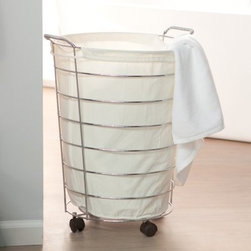 Organize It All Jumbo Laundry Basket with Canvas Bag - This Jumbo Laundry Basket With Canvas Bag is the perfect addition to any bathroom. It is perfect for storing dirty laundry and towels for laundry day. With its clean contemporary design it features a sturdy chrome-finished metal frame and an inlaid canvas bag. The basket sits on casters for easy mobility from room to room. Dimensions: 19.75W x 17.75D x 25H inches.