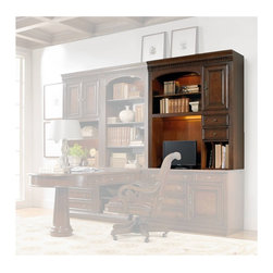 Hooker Furniture - European Renaissance II Computer Credenza Hutch - White glove, in-home delivery included!  Includes furniture assembly!  Hutch only. (Shown with European Renaissance II modular wall system on the end on top of the Computer Credenza.)  Cherry and myrtle burl veneers with hardwood solids are an exquisite combination in the European Renaissance executive home office collection.  One adjustable wood-framed glass shelf, one door with one adjustable shelf behind, two drawers, three vertical slots with two removable dividers, one task light, one light controlled by a three-intensity touch switch.