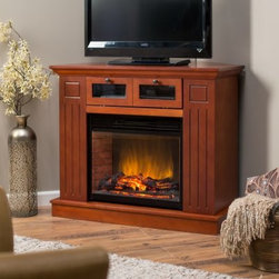 Kent Convertible LED Electric Fireplace Media Center - Simply put, the Kent Convertible LED Electric Fireplace Media Center has it all. This fireplace mantel can be placed against a flat wall or flush into a corner using the included convertible leaf. It's made of wood with select oak veneers and traditional detailing that looks great in a wide variety of rooms. There's a large AV drawer for your DVD players, cable box, and set top boxes with cable management in the back, all with an elegant drawer-pull-and-glass façade. On top, there's room for a TV with up to a 36-inch-wide base, and inside there's warm, glowing fireplace. About the fireplace This 23-inch energy-efficient LED display fire log insert looks like the real thing and feels like it, too. The realistic glowing and leaping flames are eye-catching and mesmerizing, and couple nicely with the powerful heating unit. A 1500W fan-forced heater with high and low settings provides up to 5,000 BTUs of power, controlled by a multi-function remote that changes heat, flame intensity, coal bed brightness, and down light level. It heats up to a 400-square-foot area, but can be used without heat as well. Don't have a chimney? Go ahead, have a hearth!
