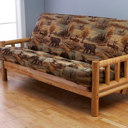 Lodge Natural Futon Frame with Futon Mattress in Canadian -
