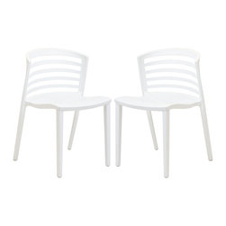 LexMod - Two Curvy White Plastic Chairs - Indulge in no-frills, straightforward contemporary style with this modern multi-purpose chair. Made from heavy-duty molded plastic this chair was built to last. Eye catching and comfortable, this reproduction brings fashion and flavor to your space.