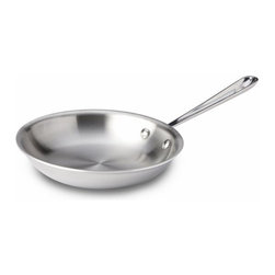 """All-Clad - All-Clad Stainless Steel 8"""" Fry Pan - Sear, brown, and pan fry everything from eggs to meat with the All-Clad Stainless Steel 8-Inch Fry Pan. This pan's flat bottom and flared sides make it easy to toss food or turn it with a spatula. Its three-ply bonded stainless steel offers exceptional heating performance, even in induction cooking. The stick-resistant 18/10 stainless steel interior and long, comfortable handle will make this fry pan a go-to piece in your kitchen. For Searing, Browning, and Pan Frying The flat bottom and flared sides of this 8-inch fry pan make it easy to toss food or to turn it with a spatula. The pan is ideal for cooking with oils and helps food develop rich flavor, bright color, and crisp texture. The pan's cast and riveted stainless steel handle stays cool on the cooktop, so you can cook safely and comfortably. Premium Stainless Steel Construction Classic design, high performance, and lifetime durability unite in the Stainless Collection, All-Clad's most popular line of cookware. Products in the collection feature an interior core of aluminum for even heating and a polished 18/10 stainless steel exterior and cooking surface for fine culinary performance. All-Clad stainless steel cookware features an interior starburst finish for excellent stick resistance. The bottom of each pan is engraved with a convenient capacity marking."""