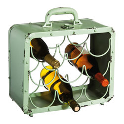 Contemporary Metal Wine Rack - Wine lovers, get ready. As you fill this charming metal rack, it takes you on a tour of your own collection. With its sweet, minty green suitcase style, you'll journey through the many flavors of your favorite wines with a solid style companion.