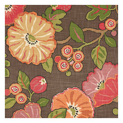 Red & Orange Modern Floral Fabric - Large playful floral in bright reds, oranges & browns. Feel the poppy love with this modern print.Recover your chair. Upholster a wall. Create a framed piece of art. Sew your own home accent. Whatever your decorating project, Loom's gorgeous, designer fabrics by the yard are up to the challenge!