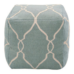 18x18 Fallon Slate Blue Pouf - An inviting expression of a color with traditional meanings that range from nautical themes and the grace of coastal living, to French provincial decor and the timeless chic of a classic piece, to the delicate sky shades of feminine sun porches, the Fallon Slate Blue Pouf is a graceful inclusion in any space.  Softly stuffed and plumply sewn, it incorporates an off-white Moroccan pattern into its luxurious 100% wool weave for blending beauty.