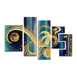 DESIGN ART - 'Abstract Blue Swirls' Hand Painted Canvas (5 Piece) - Artist: Unkown Title: Abstract Blue Swirls Product type: Hand Painted, Oil on Canvas