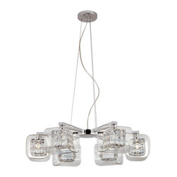 Trans Globe - Trans Globe Glassed Cube 6 Light Propeller Large Pendant - Featuring a bright shine appeal of crystal softened by clear outer glass, this timeless pendant casts a warm glow in your foyer or dining room.