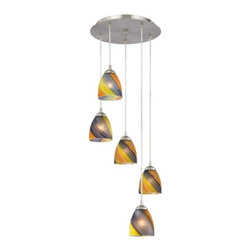 Design Classics Lighting - Multi-Light Pendant Light with Five Art Glass Bell Shades - 580-09 GL1015MB - Contemporary multi-light pendant with multi-colored art glass modern bell shades and five lights. The dome art glass shades feature stripes with shades of violet, yellow, orange, and light brown. Includes one satin nickel five port ceiling canopy. Each mini-pendant comes with 7-feet of clear cuttable cord that allows for custom height adjustability for each pendant. Takes (5) 100-watt incandescent A19 bulb(s). Bulb(s) sold separately. UL listed. Dry location rated.
