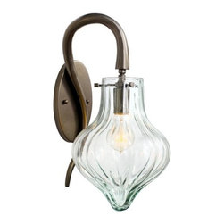 Varaluz - Varaluz 152K01NB 1 Light Wall Sconce with Recycled Vintage Glass from the Tusk C - Varaluz 152K01 Single Light Wall Sconce from the Tusk Collection