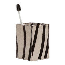 "Pigeon & Poodle - Pigeon & Poodle Umbra Zebra Toothbrush Holder - The Pigeon & Poodle Umbra toothbrush holder's textured design captivates in a modern bathroom. On a simple silhouette, zebra print hair-on-hide makes a bold statement. 3.25""W x 3.25""D x 4.5""H; Due to handmade quality, natural variations may occur"