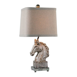 Uttermost - Uttermost Rathin Horse Lamp 26482-1 - Crackled ivory ceramic with a dark brown glaze and acrylic foot. The slightly tapered, rectangle hardback shade with curved corners is a beige linen fabric with natural slubbing.