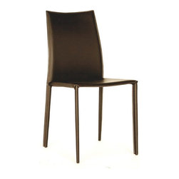 Baxton Studio - Baxton Studio Rockford Brown Leather Dining Chair - This dining chair set will make an excellent addition to your dinette or dining room. These chairs are simple and will go well with a variety of different decorating styles. Durable bonded leather upholstery for longer lasting use and stain resists for easy clean up. Chair constructed with sturdy steel frame lightly padded with high density foam for added comfort.