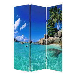 Paradise Screen - On those cold winter days, wouldn't it be nice to look up and see paradise staring right back at you? With this three-panel screen, you get just that. The blue water and blue sky are so tempting, you may want to put on your swimsuit and grab a Mai-Tai.