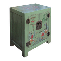 "Golden Lotus - Green Butterfly Kids Painting Nightstand End Table Chinese Cabinet - Outside Dimensions: 20.5""Wx13""Dx26""H"