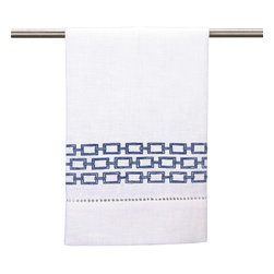 """DL Rhein - DL Rhein Chain Link Guest Towel Navy Set of 4 - Geometric chain links line the edge of DL Rhein's chic guest towel set. Finished with simple lace detailing, this contemporary accent lends a sophisticated vibe. 14""""W x 22""""H each; Set of 4; 100% cotton; Embroidered in navy blue; Machine wash"""
