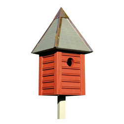 Heartwood - Gatehouse Bird House sRedwood - This  beautiful  birdhouse  is  the  perfect  addition  to  any  home  or  garden  of  your  choice.  With  beaded  edge  drop  siding  in  select  cypress  milled  to  scale,  this  is  sure  to  wow  any  visitors  or  company.  Full  copper  trim  and  roof  cap  crown  this  glory,  while  the  copper  clean-out  door,  excellent  ventilation  and  drainage  make  for  long-lasting  delight  and  convenience.This  bird  house  is  one  you  are  sure  to  enjoy  in  the  years  to  come.  Available  in  several  colors.                  7x7x15              1-3/8  hole              Available  in  celery,  smoke  grey,  white  and  redwood              Handcrafted  in  USA  from  renewable,  FSC  certified  wood