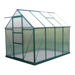 "EarthCare Greenhouses - Nature's Premium Greenhouses, 6' 10"" X 9' 3"" X 7' - Eaves height 5 foot 1½ inch."