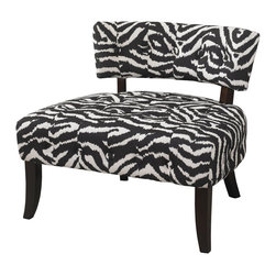 """Powell - Powell Lady Slipper Zebra Print Accent Chair X-209-205 - The """"Lady Slipper"""" Zebra Print Chair adds bold drama and style to any space. The chair features a generous sized plush seat for comfort. A low lying swanky chair back has simple button tufting for appeal. Great for adding to a living room, bedroom or entr"""
