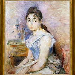 "Berthe Morisot-16""x20"" Framed Canvas - 16"" x 20"" Berthe Morisot Young Woman in a Blue Blouse framed premium canvas print reproduced to meet museum quality standards. Our museum quality canvas prints are produced using high-precision print technology for a more accurate reproduction printed on high quality canvas with fade-resistant, archival inks. Our progressive business model allows us to offer works of art to you at the best wholesale pricing, significantly less than art gallery prices, affordable to all. This artwork is hand stretched onto wooden stretcher bars, then mounted into our 3"" wide gold finish frame with black panel by one of our expert framers. Our framed canvas print comes with hardware, ready to hang on your wall.  We present a comprehensive collection of exceptional canvas art reproductions by Berthe Morisot."