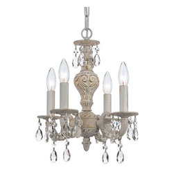 Crystorama - Crystorama 5024-AW-CL-S Sutton 4 Light Mini Chandeliers in Antique White - The Sutton Collection uses a textured Venetian Bronze finish to remind us of a Paris flea market. The combination of wrought iron with clear crystal accents makes this fixture both timeless and whimsical. This Paris Flea chandelier works perfectly in small spaces and children's rooms.