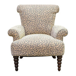 Used Leopard Print Rolled Back Arm Chair - This chair is super fun. The ball front legs and leopard print make it one of a kind!  It's covered in cotton duck printed fabric and features a rolled back and rolled arms.