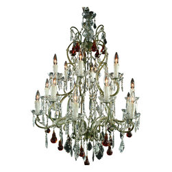 EuroLux Home - Large Maria Theresa Style Chandelier Amber - Product Details
