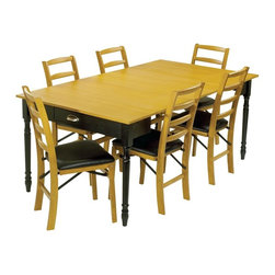 Stakmore - Expanding Dining Table w Warm Oak Finish Top - This versatile dining table features easy expansion for extra guests. Plus, it's made with solid wood and veneers for superior quality. The table has an oak finished top to contrast turned black legs. Chairs sold separately. Can be used as console and game table. Two additional leaves expands to dining table. Hidden fifth leg for extra support in the open dining position. Oak top and black base. Made from premium solid wood. Dining table: 72 in. L x 40 in. W x 29 in. H. Console table: 40 in. W x 20 in. D x 29 in. H. Gaming/Dinette table: 40 in. L x 40 in. W x 29 in. HPracticality meets functionality with this expanding table. In its starting position this table is a provincial console or sofa table, by pulling out the back legs and flipping the hinged top it easily becomes a 40 by 49 inch game/dinette table. If more seating area is needed, simply extend the table further and add two leaves (included) and you get a 72 inch long dining table easily seating six people. With a distressed black frame and light oak finish top this piece of furniture will be the most versatile piece in your home.