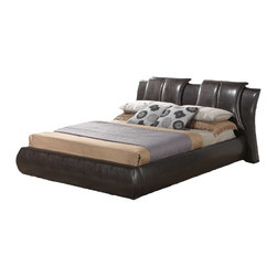 Global Furniture - Global Furniture Queen Bed Brown Gloss - Brown faux leather upholstery highlights thiscontemporary platform bed. A curved headboard with extra padded detailing finished in a rich brown faux leather fabric will add the perfect complement to your current d&#233:cor