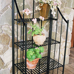 Pangaea Home & Garden - Black Folding Baker's Planter Rack - Use this black bakers rack indoors or outdoors. This bakers rack is made with a powder-coated weather-resistant finish that prevents rusting when its used outside. It can also fold completely flat for portability and space-saving storage.