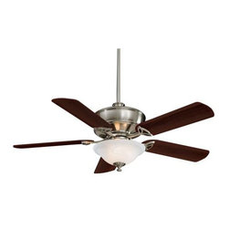 Minka Aire - Mink Aire Bolo Ceiling Fan in Brushed Nickel - Minka Aire Bolo Model F620-BN in Brushed Nickel with Dark Walnut Finished Blades. Integrated light fixture for Bolo series with Etched Swirl Glass.